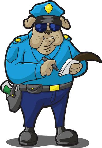 Cartoon of police dog writing a ticket