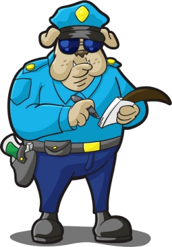 cartoon bull dog police writing a ticket
