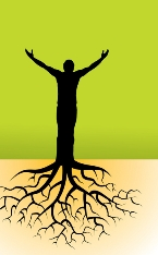 silhouette illustration of man with tree roots