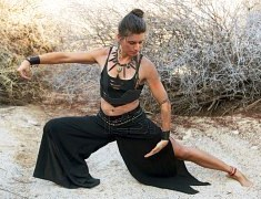 Strong woman practicing qigong