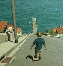 Boy with skateboard on summit of steep hill