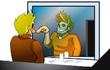 cartoon of man in the mirror, a mental health test
