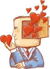 Illustration of a brain full of hearts