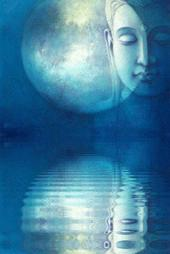 Moon and Buddha reflecting on still water is the kind of energy that healing emotional pain can bring to even the most traumatic experiences