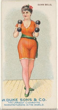 Vintage illustration of woman holding dumb bells so she can overcome fear of abandonment